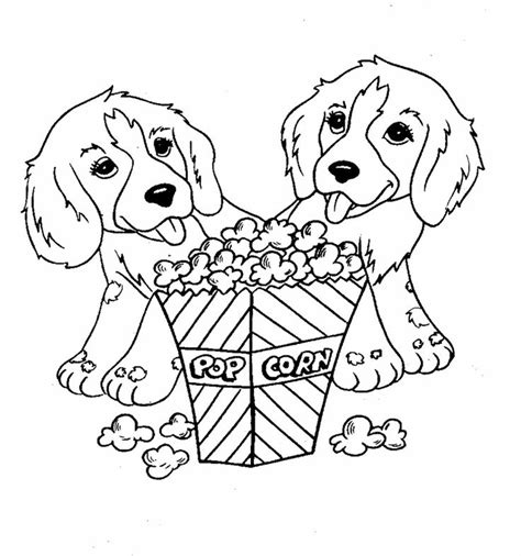two dogs coloring page two dog eat popcorn coloring page for kids coloring