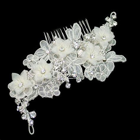 alencon flower comb zaphira bridal