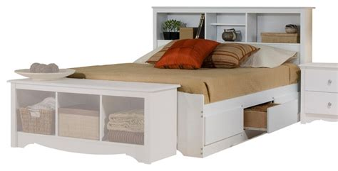 prepac monterey platform storage bed with bookcase headboard in white modern platform beds