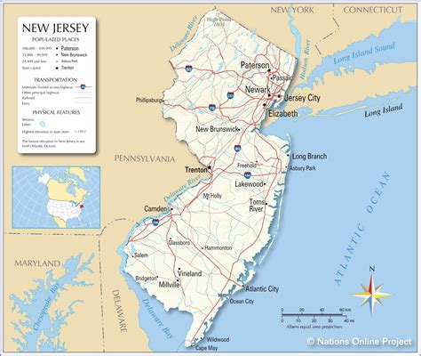 map of new jersey and new york reference maps of new jersey usa nations project