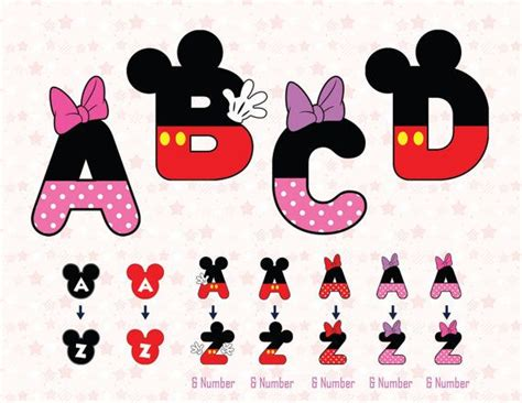Mimi In Letters by 26 Mickey Alphabet Mickey Clipart Mickey Font Minnie By