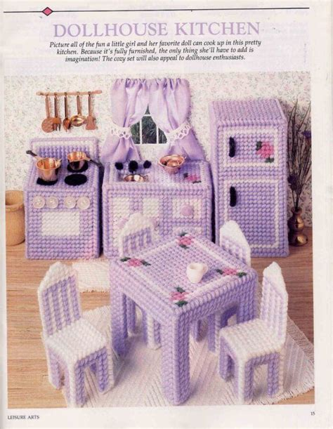 plastic dolls house furniture plastic canvas miniature doll house kitchen furniture pattern