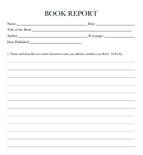 printable book report form 9 book report templates free sles exles format