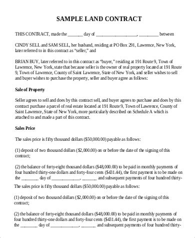 sle land contract form 9 exles in word pdf