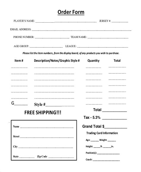 youth sports photography templates sle order form 11 sle order form templates word