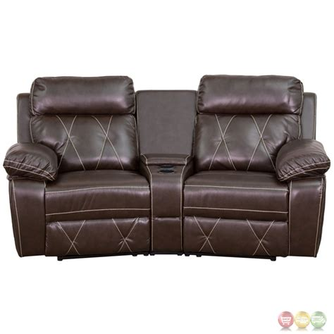 Reclining Theatre Seats by Reel Comfort 2 Seat Reclining Brown Leather Theater Seats