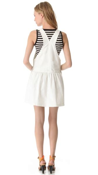 White Overall Dress lyst sea popover overall dress in white