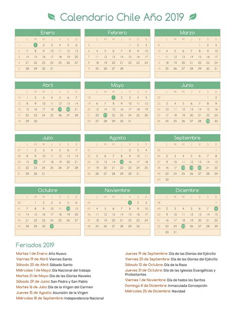 Calendario 2018 Y 2019 Calendario Chile A 241 O 2019 Feriados