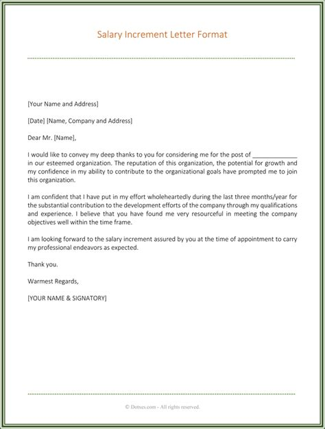 Letter Of Raise Pay Increase Letter Best Business Template