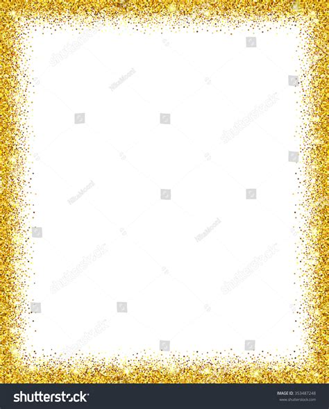 glitter template gold glitter background gold sparkle frame stock vector