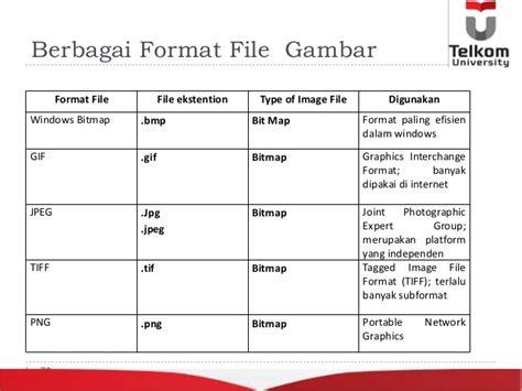 sebutkan beberapa format file gambar bitmap slide minggu 6 citra digital