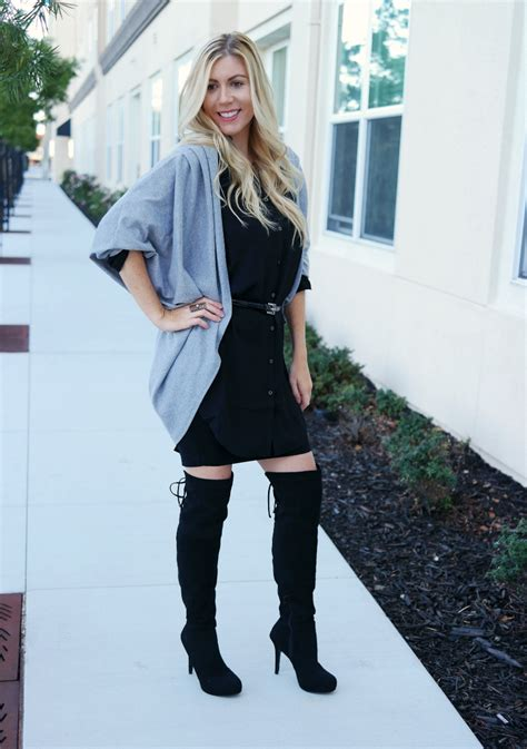 black dress with thigh high boots yu boots