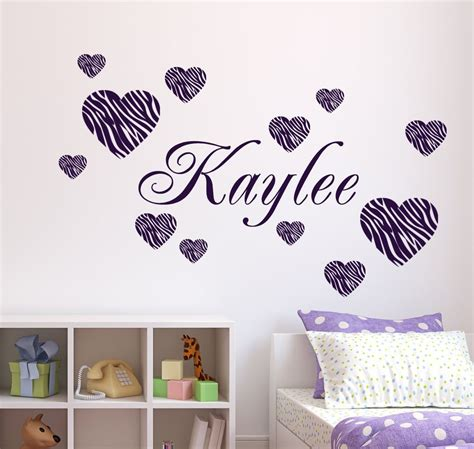 zebra pattern wall decals personalized name 12 zebra pattern hearts vinyl wall