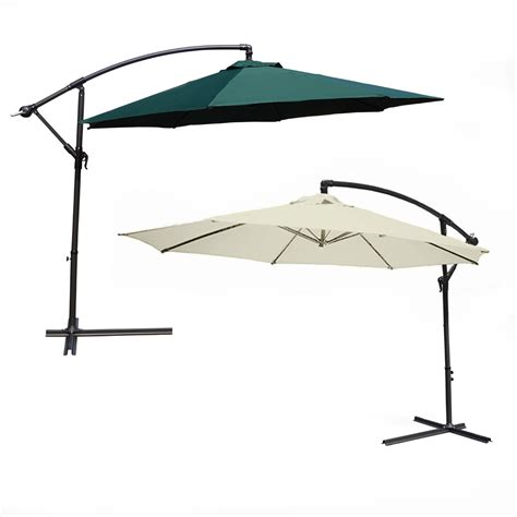 Sun Umbrella Patio 3 5m Large Cantilever Hanging Garden Parasol Sun Shade Patio Umbrella For Dining Ebay