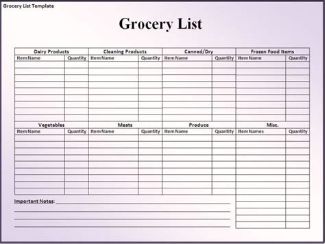 grocery shopping list spreadsheet template sle for your