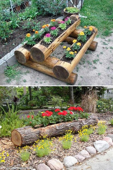 diy tree log ideas   garden