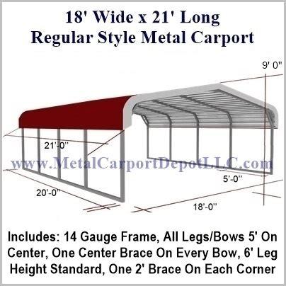 Carport Dimensions 18 X 21 Regular Style Metal Carport 995 00 Free