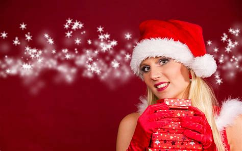 merry christmas girl models with santa hat image gallery