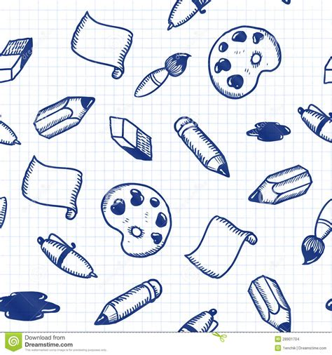 doodle tool doodle tools seamless pattern stock images image 28901704