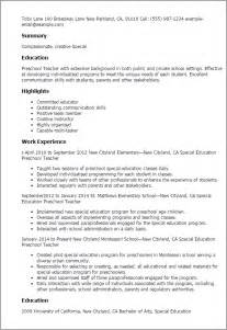 Preschool Resume Objective Exles by Professional Special Education Preschool Templates