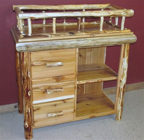 changing table shelf cedar log changing table with shelf and drawers barn