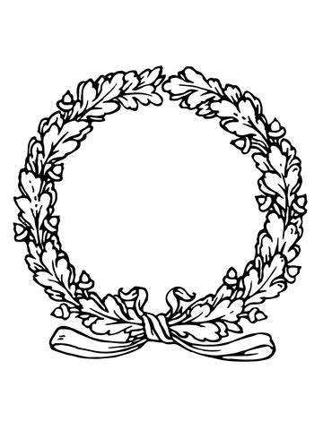 laurel wreath coloring page laurels wreath with ribbon coloring page supercoloring com