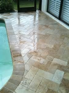 Lanai Patio Ceramictec Travertine Herringbone Paver Pool Deck New