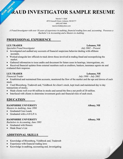 unit resume sle fraud investigator resume sle resumecompanion