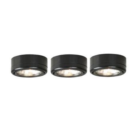 Commercial Electric Cabinet Lighting by Commercial Electric 3 Light Black Cabinet Puck Kit