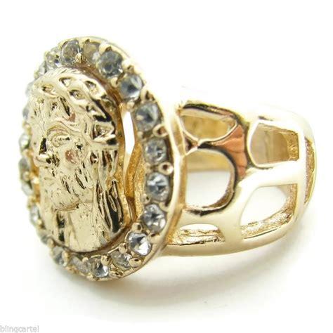 jesus gold tone s ring rings