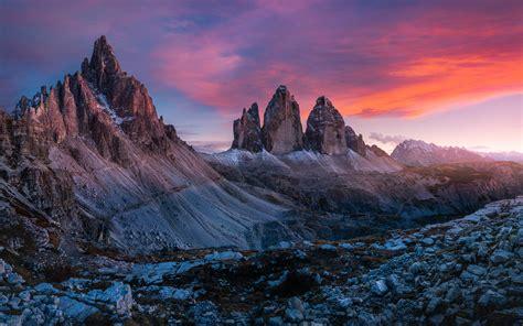 dolomites italu tre cime  lavaredo sunset landscape