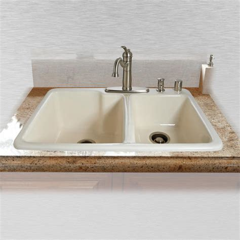 ceco kitchen sinks ceco redondo 734 33 quot x 22 quot x 10 quot cast iron offset 60 40