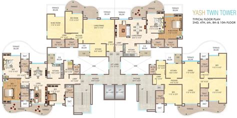 twin towers floor plans 1288 sq ft 2 bhk 2t apartment for sale in yash builders