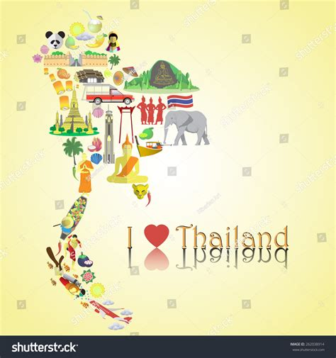 Thailand Address Lookup Thailand Map Thai Color Vector Icons And Symbols In Form Of Map 262038914