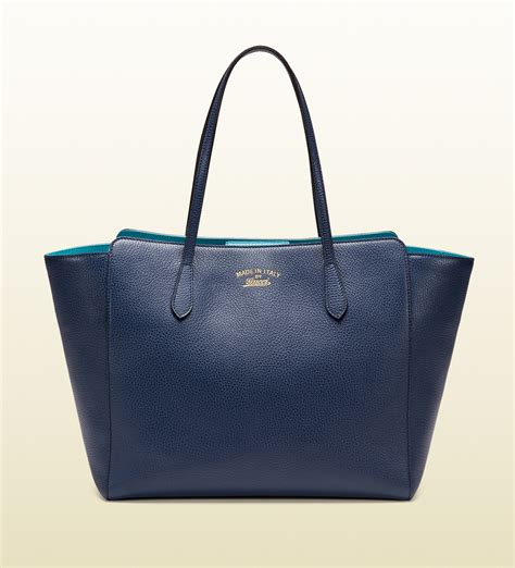 gucci swing leather tote gucci swing medium leather tote in blue lyst