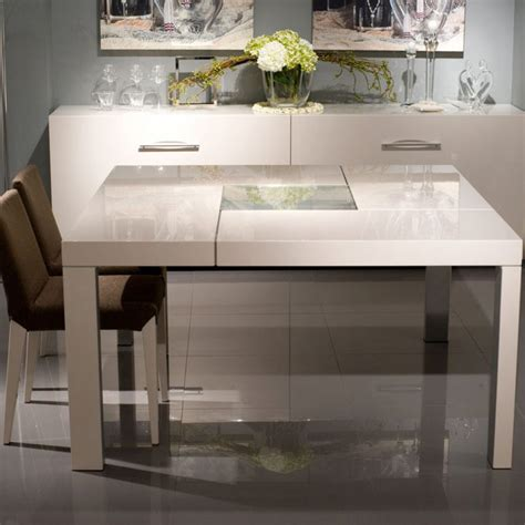 incavo square dining table glossy beige beyond furniture