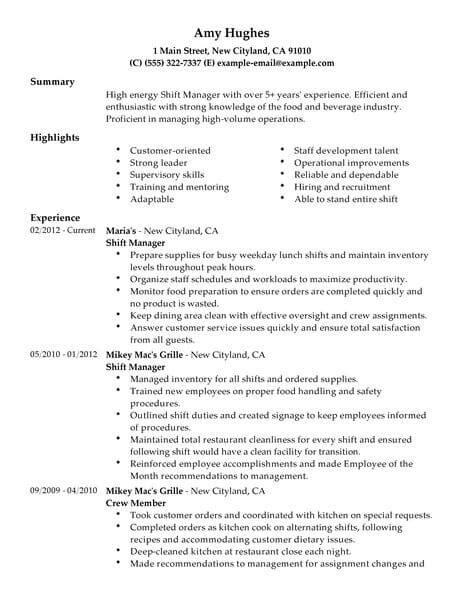 restaurant bar manager resume sle best restaurant shift manager resume exle livecareer