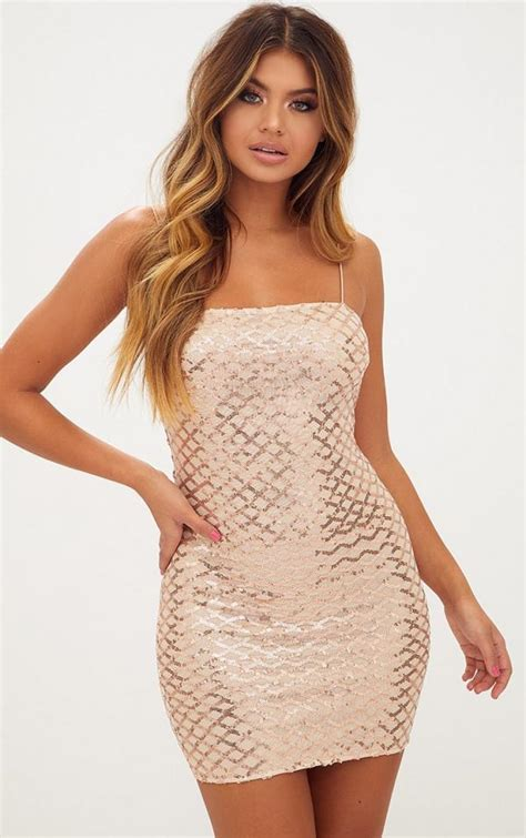 Prettylittlething Rose Gold Strappy Sequin Straight Neck