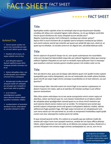 template fact sheet fact sheet template e commercewordpress