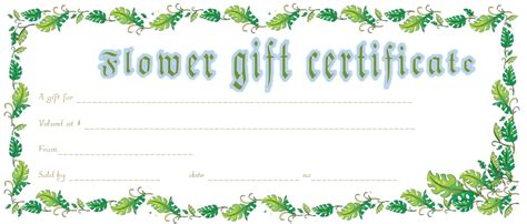 flower gift card template vintage flower gift certificate template