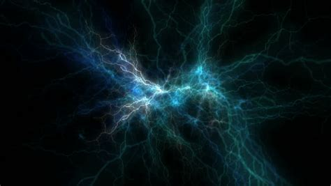 black blue electrical blue electrical discharge on black background stock