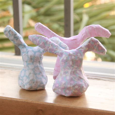 How To Make Paper Mache Rabbit - diy paper mache bunnies world of pineapple