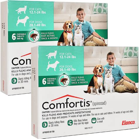 comfortis for puppies comfortis for dogs 20 40lbs cats 12 1 24lbs 12mnth green