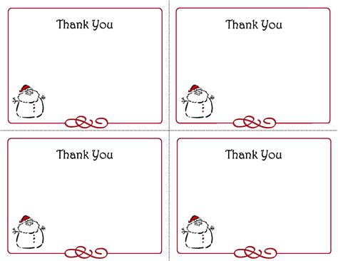5 best images of free printables thank you card template