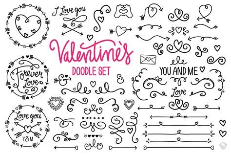 doodle vector valentines vector doodle set to spread the