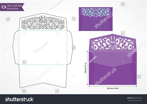 a5 size card template standard c5 size envelope template decorative stock vector