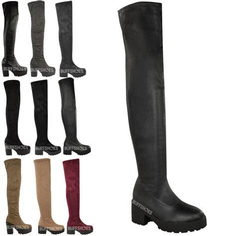 stretch thigh high boots womens thigh high the knee platform chunky