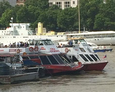 thames clipper crash thames passenger ferry crashes into barge ybw