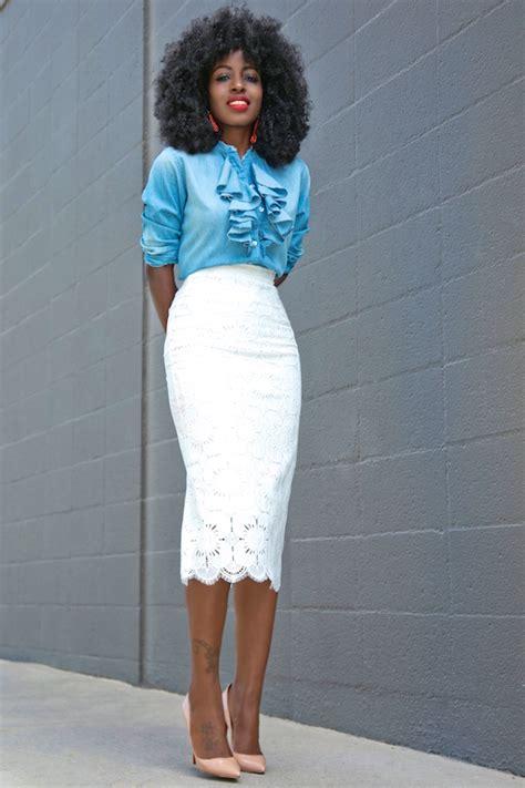style pantry ruffle denim shirt lace pencil skirt