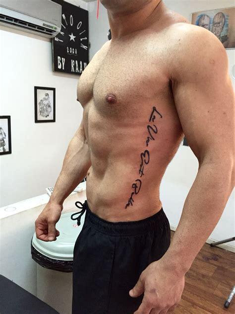 men rib tattoo on the rib quote